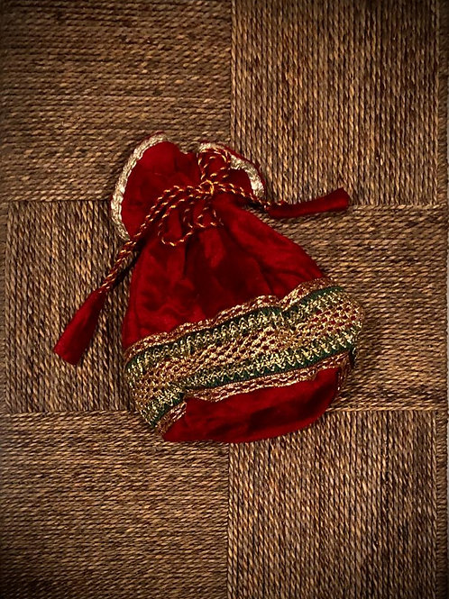 Heirloom Red Potli with Lace Potli