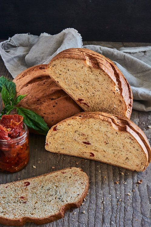 Sundried Tomato,Garlic & Basil Round Bread