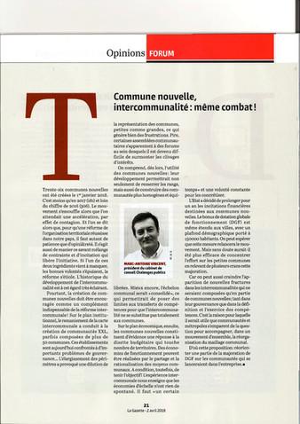 Une contribution de Chalenges Publics sur les communes nouvelles (la Gazette des communes du 2 avril