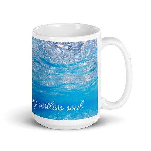 "White Mug - ""the ocean calms my restless soul"""