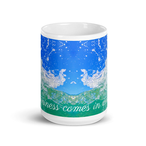 """White Mug """"happiness comes in waves"""""""