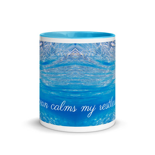 "White Mug ""the ocean calms my restless soul"""