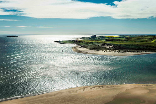 Budle Bay & Ross Sands Mounted Small Fine Art Print
