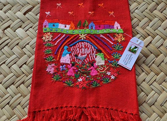 Hand Embroidered Tea Towel - Feliz Navidad