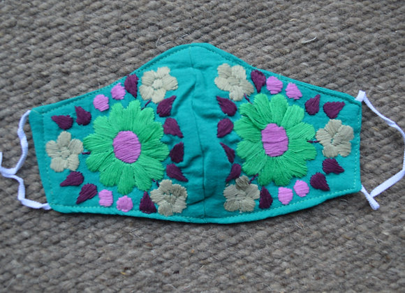 Teal Green Nahua Face Masks
