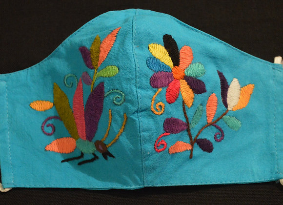 Turquoise & Rainbow Otomi Face Masks