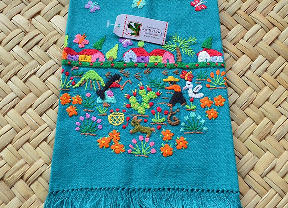 Hand Embroidered Tea Towel - Harvesting Prickly Cactus