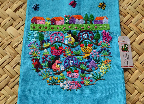 Hand Embroidered Tea Towel - Dia de Muertos