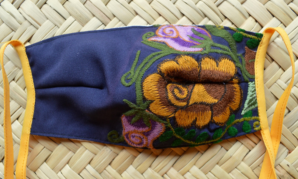 Floral Mask with Ties
