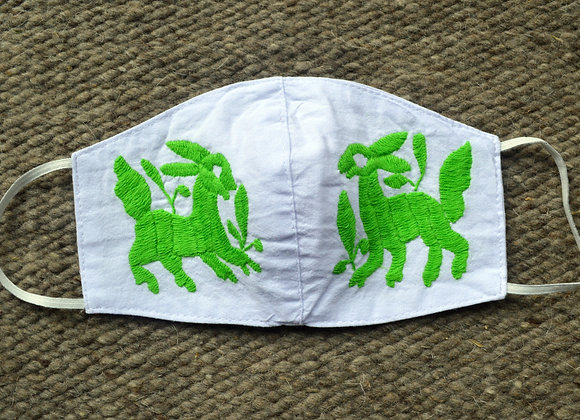 White & Green Otomi Face Masks