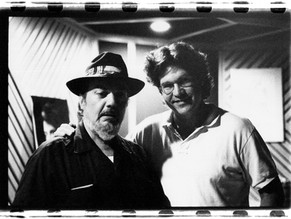 With Dr John after recording his vocals for Blues Across America in Ray Benson's studio, Austin, TX