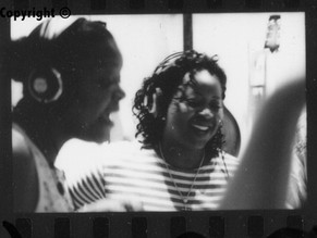 Lois Peeples and Benita Arterberry recording Wash Me In Angels