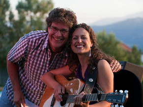 With Beth Wood at one of the many Pederson's House Concerts we did together in Colorado Springs.