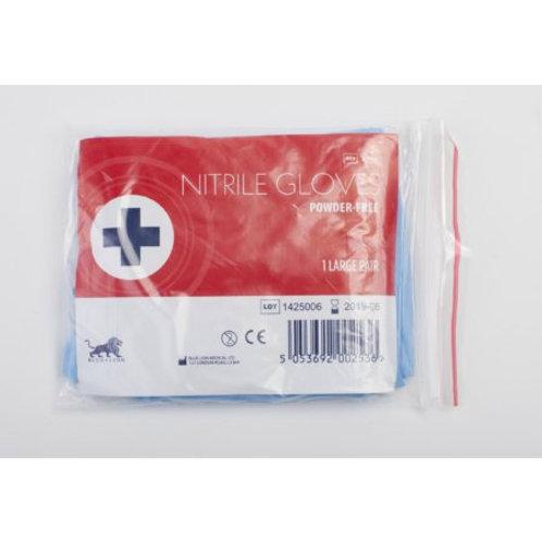 Powder Free Blue Nitrile Gloves - Large -  Pair