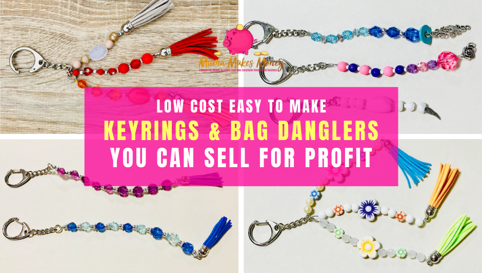 Make fancy keyrings and bag danglers to sell for profit