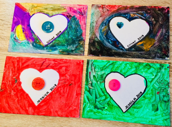 Peel off the card heart shape and decorate with buttons, jewels or write your own message