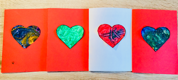 Peel the heart from the canvas and stick it on to a piece of folded card
