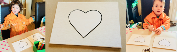 Cut out a heart shape and stick it to the canvas