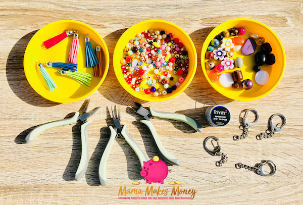 What you will need to make fancy beaded keyrings and bag danglers