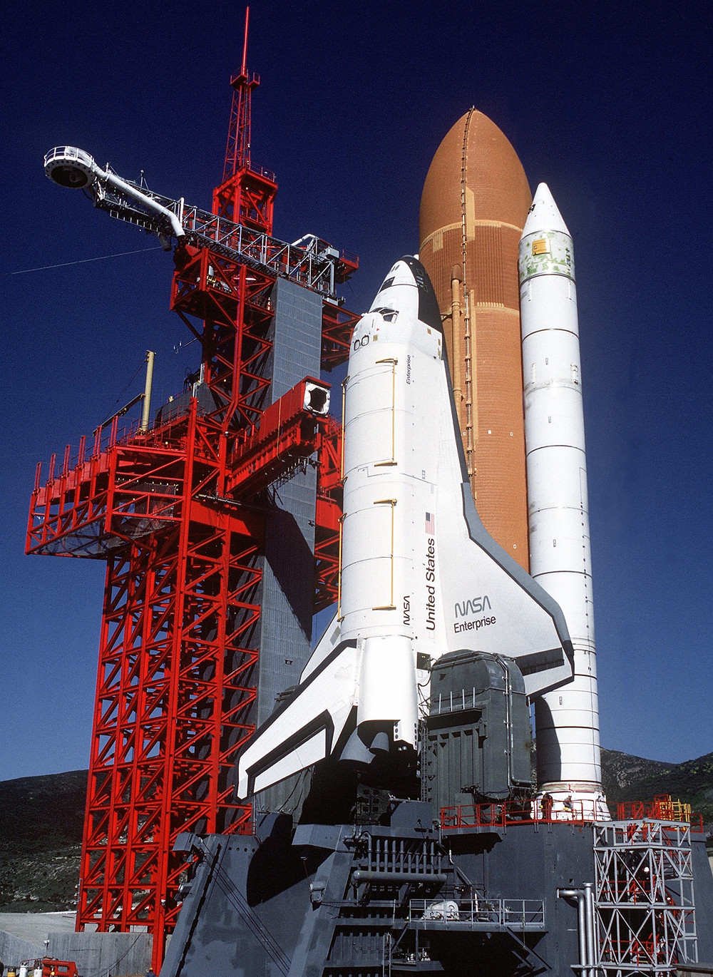 Orbiter Enterprise stacked on the launch pad at Space Launch Complex 6 at Vandenberg Air Force Base