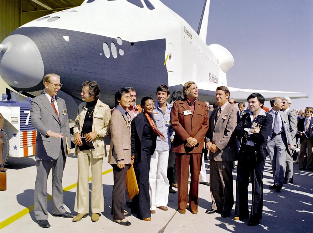 "Cast of ""Star Trek"" with Space Shuttle Enterprise"