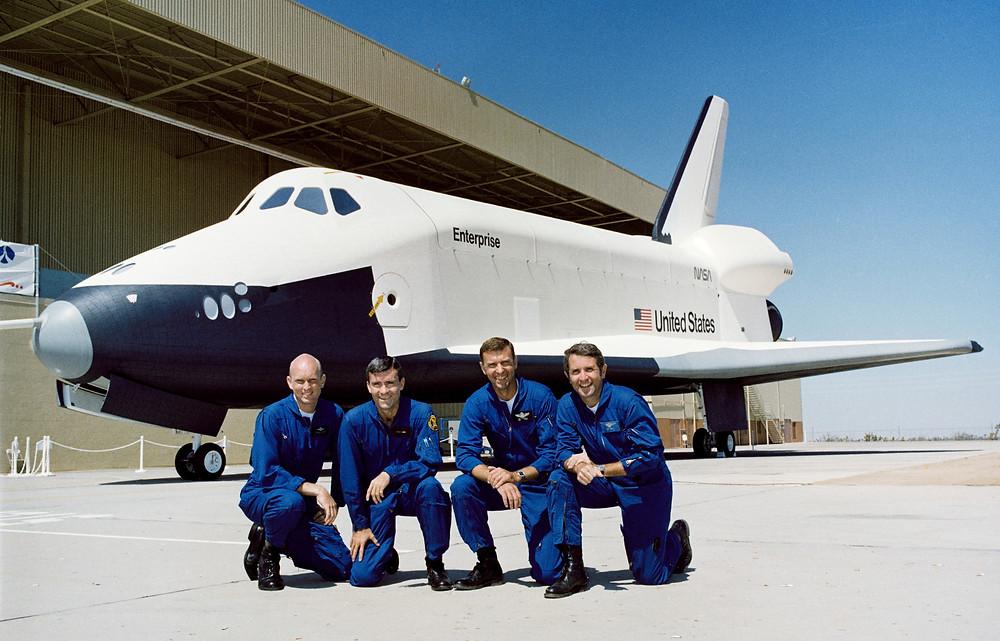 Pilots of Space Shuttle Enterprise; Gordon Fullerton, Fred Haise, Joe Engle, and Dick Truly