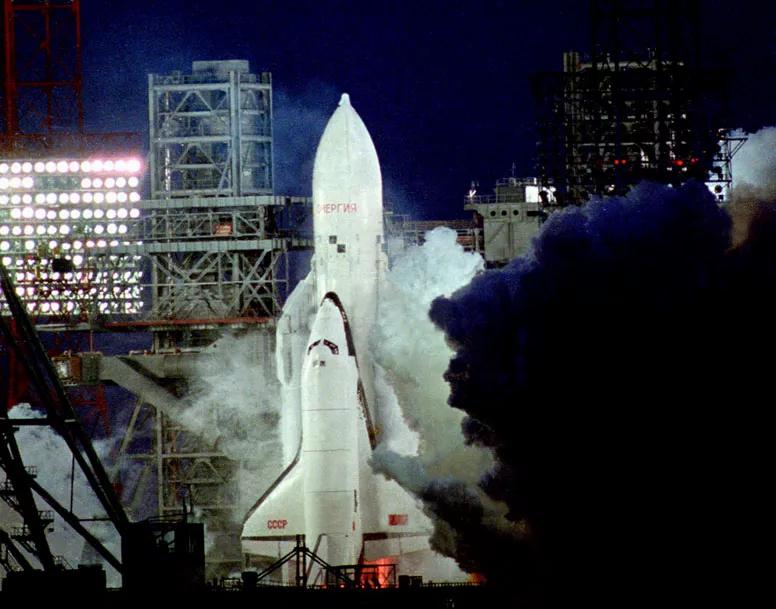 Soviet spaceplane Buran on pad before launch