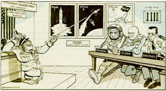 Humorous comic about Ham teaching the Mercury astronauts