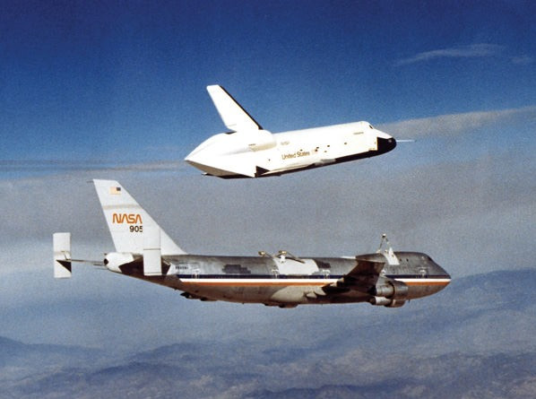 Space Shuttle Enterprise during one of three approach and landing tests