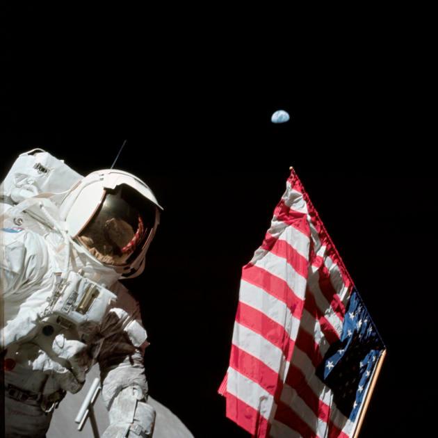 Astronaut Jack Schmitt on lunar surface during Apollo 17