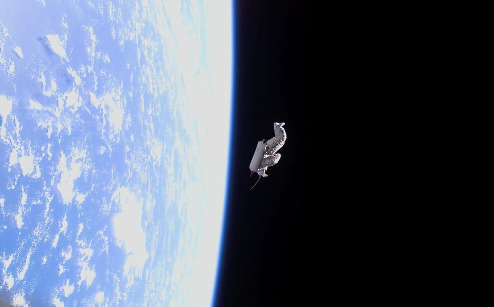 SuitSat drifts out into space