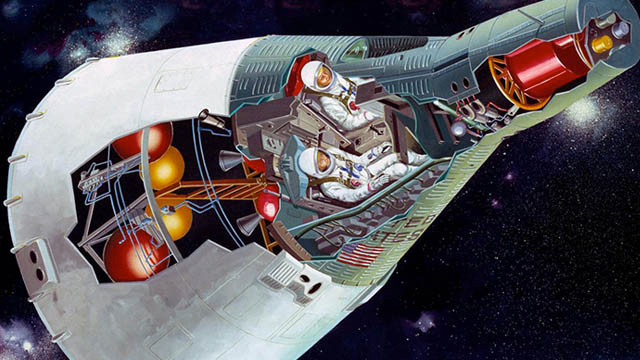 Cutaway of NASA's Gemini spacecraft showing the interior of the crew and service modules