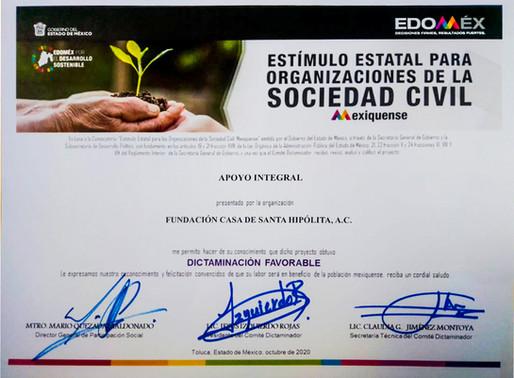 Estimulo estatal por parte de  Participación Social del Gobierno del Estado de México