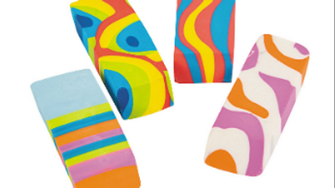Colorful Beveled Swirl Erasers