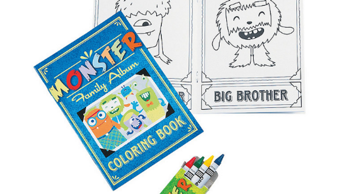Monster Coloring Book with Crayons!