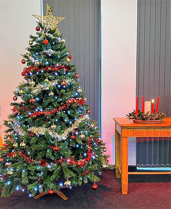 Christmas Tree and Advent candle.  BBC.j