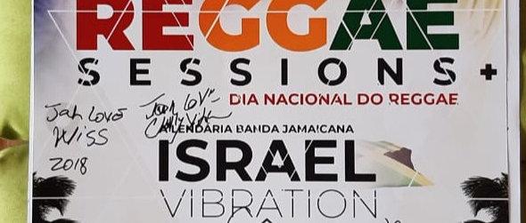 Cartaz de festival de Reggae todo autografado