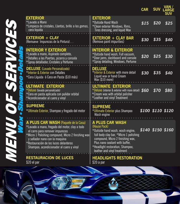 All prices and services from A Plus Carwash and Detailing