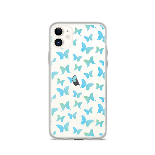 Blue Butterfly - Clear TPU iPhone Case