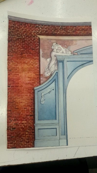 Watercolor architectural textures, base drawing by Tim Jozewick