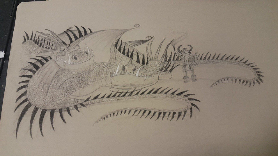 Charcoal 18x24 based on How To Train Your Dragon concept art