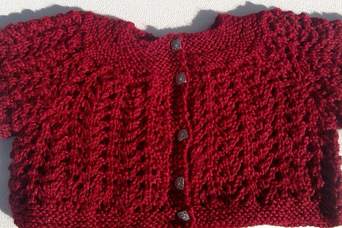 Heirloom Baby Sweater - Holly Berry