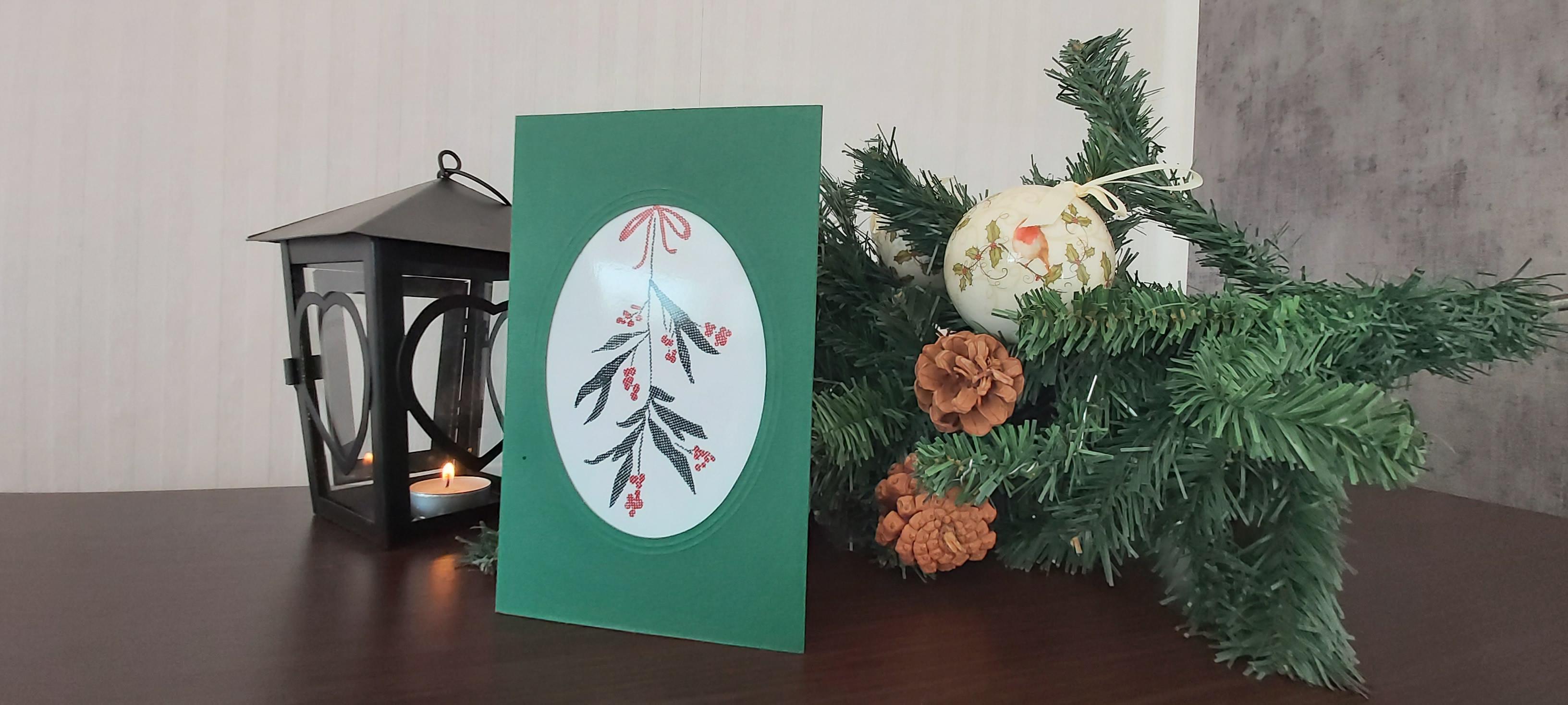 """Card """"Mistletoe"""" in green"""