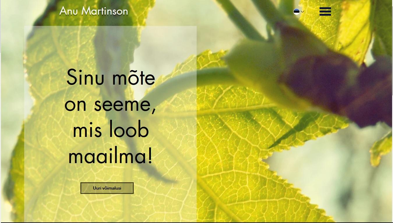 Anu Martinson webpage, 2020