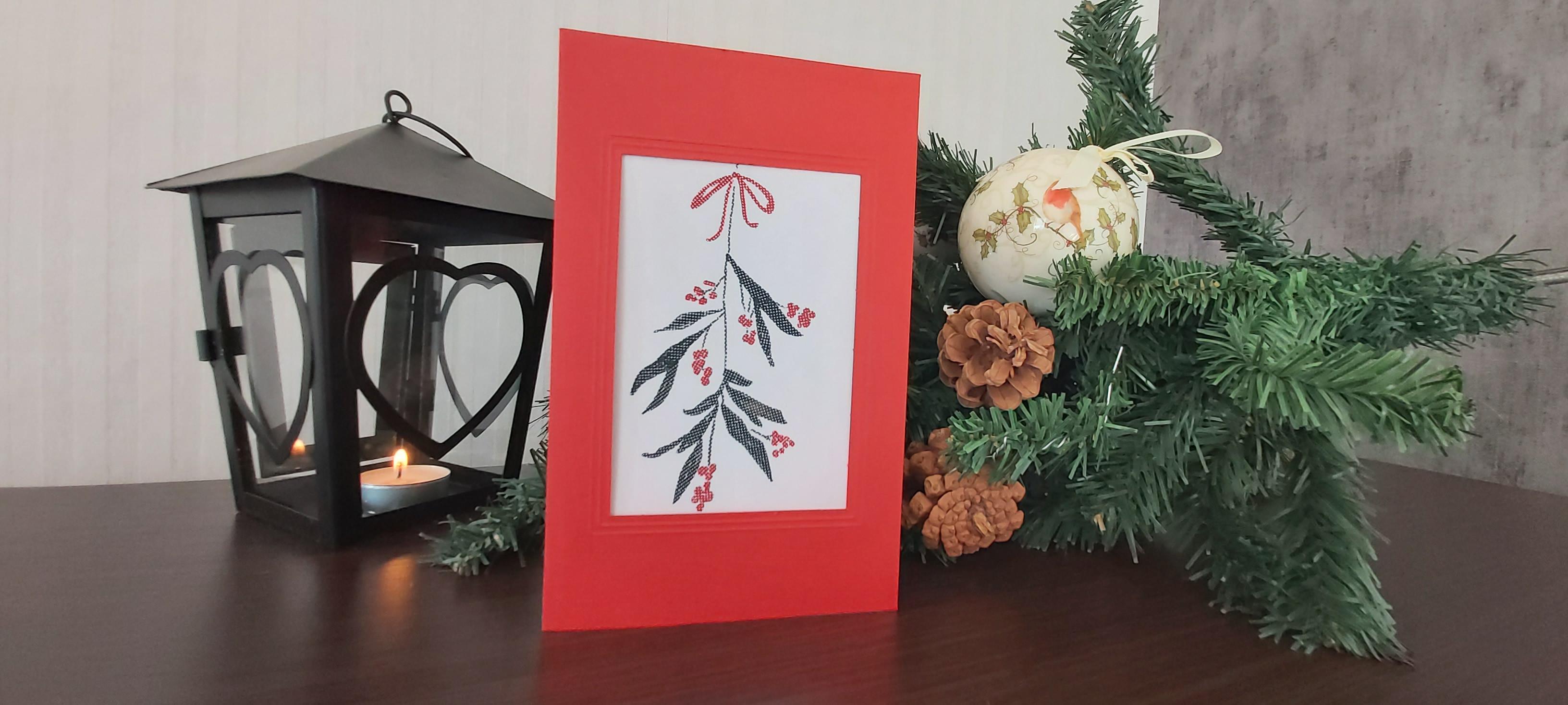 """Card """"Misteltoe"""" in red"""