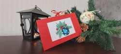 """Card """"Christmas Ornament"""" in red"""