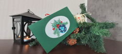 """Card """"Christmas Ornament"""" in green"""