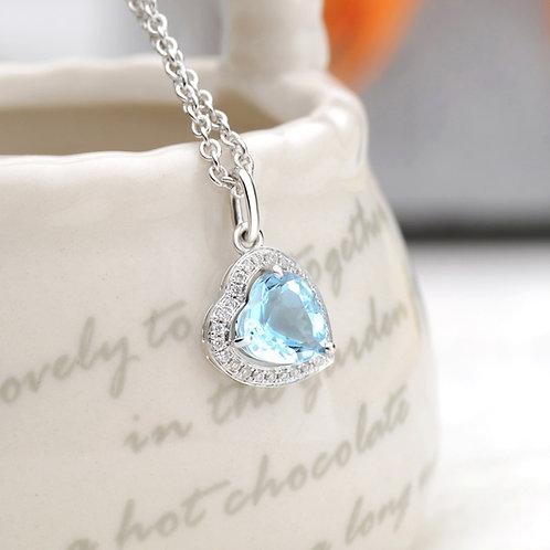 18K White Gold Heart Aquamarine and Diamond Pendant