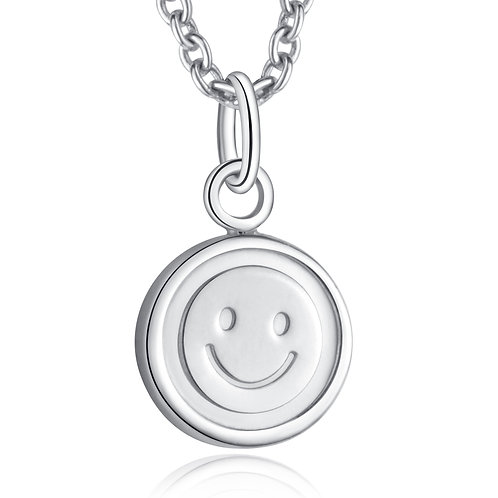 """Sterling Silver Smiley Pendant Necklace 18"""""""