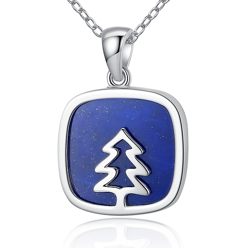 """Sterling Silver Featured with Geniue Lapis Christmas Gift Pendant Necklace 18"""""""